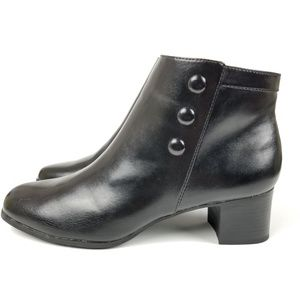 CROFT & BARROW Chrissie Black Heel Ankle Boots, 7M